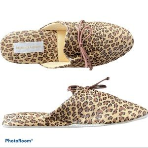 NEW! JACQUES LEVINE House Slippers Leopard Size 7